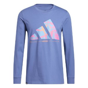 Camiseta Adidas M/L Hoops Azul Masculino
