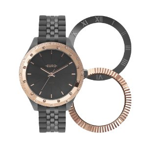 Relógio Euro Feminino Troca Aro Preto Analógico EU2035YPOT4C