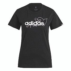 Camiseta Adidas Coração Preto Feminino
