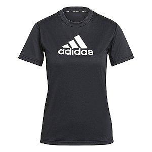 Camiseta Adidas Logo Polyester Preto Feminino