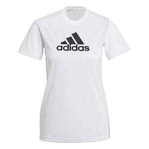 Camiseta Adidas Logo Polyester Branco Feminino