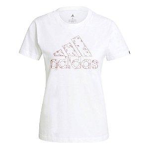 Camiseta Adidas Estampada Floral Branco Feminino