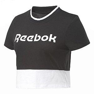 Camiseta Reebok Cropped Linear Logo Preto Feminino