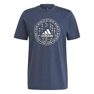 Camiseta Adidas Grafica Explorer Azul Marinho Masculino