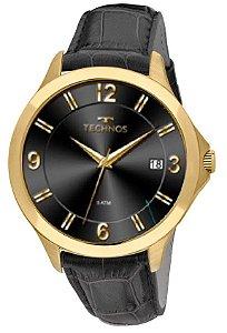 Relógio Technos Dourado Pulseira de Couro Preto 1S13CE/2P