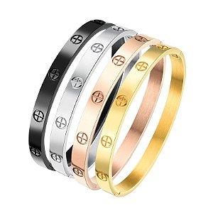 04 Braceletes 1252 (Dourado, prateado, rosê e preto)