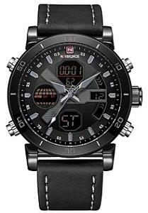 Relógio Naviforce 9132 Pulseira de Couro Preto