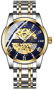 Relógio Tevise T9005A Automático Prata e Dourado