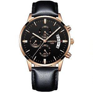 Relógio Nibosi 2309 Pulseira de Couro Preto