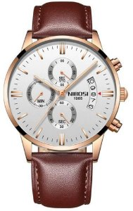 Relógio Nibosi 2309 Pulseira de Couro Marrom