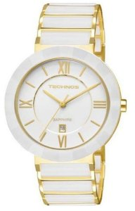 Relógio Technos Cerâmica 2015BV4B Branco e Dourado