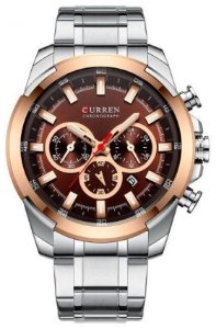 Relógio Curren 8361 Prata e Rosê
