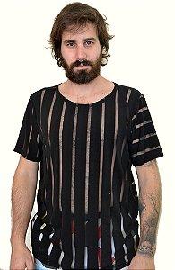 Camiseta Listras Preto