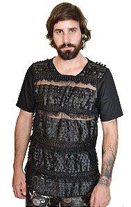 Camiseta Renda em Couro