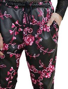 Calça Courino Floral
