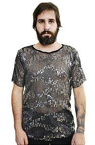 Camiseta Transparente Paetê