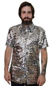 Camisa Paetê Prata