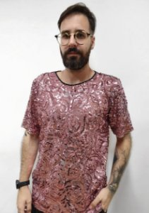 Camiseta Paetê Bordada