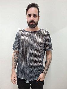 Camiseta fios prata