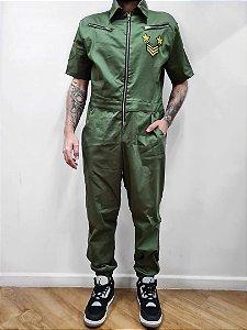 Macacão Manga Curta Militar Verde