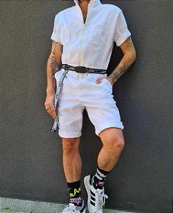 Macaquinho branco e cinto love new