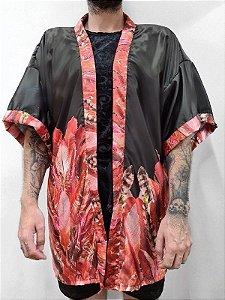Kimono Penas Vermelhas