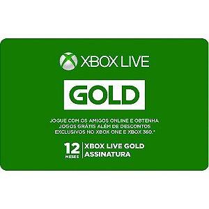 Pré-Pago Xbox Live Gold - 12 Meses