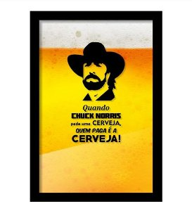 Quadro Porta Tampinha de Cerveja - Chuck Norris
