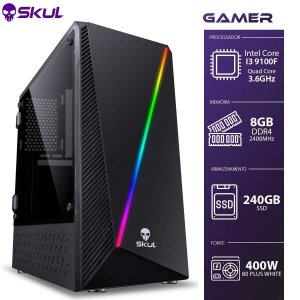 Computador Gamer 3000 - I3 9100F 3.6GHZ 9ª Ger. 8GB DDR4 SSD 240GB Fonte 400W 80 Plus white (Sem Vídeo)