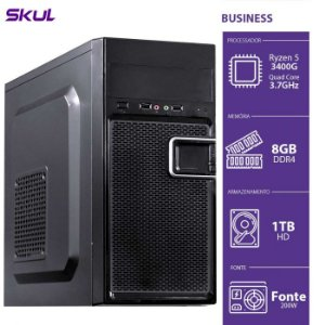 Computador Business B500 - R5-3400G 3.7GHZ 8GB DDR4 HD 1TB HDMI/VGA Fonte 200W