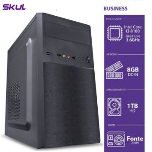 Computador Business B300 - I3-8100 3.6GHZ 8GB DDR4 HD 1TB HDMI/VGA Fonte 200W