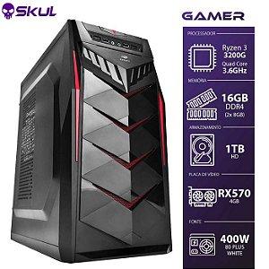 Computador Gamer 3000 - R3 3200G 3.6GHZ Memória 16GB DDR4 (2X 8GB) HD 1TB RX 570 4GB Fonte 400W 80 Plus White