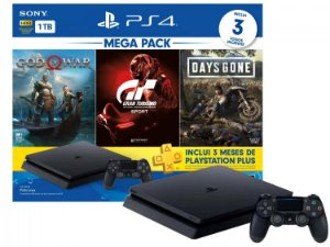 Playstation 4 Hits 1TB com 3 Jogos e 3 Meses de Plus
