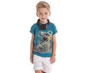 Camiseta Infantil c/ Gel Dino Rock Bicho Bagunça