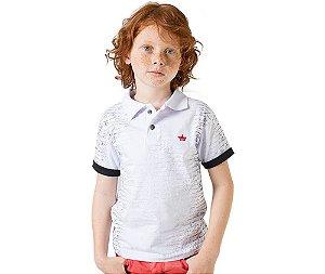 Camisa Gola Polo Infantil Letters Estampada e Bordada G91 Style