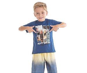 Conjunto Camiseta Infantil Holy Beach Surf Sets Bicho Bagunça - Cinza