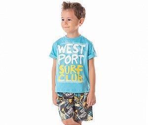 Conjunto Infantil Camiseta West Port Surf Club By Gus - Branco