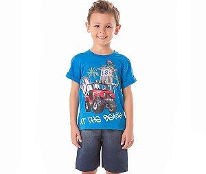Conjunto Infantil Camiseta Surf At The Beach By Gus - Azul