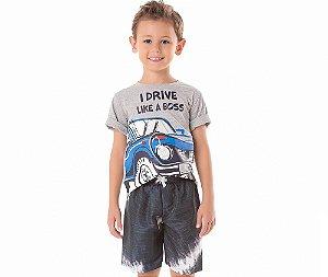 Conjunto Infantil Camiseta I Drive Like a Boss By Gus - Branco