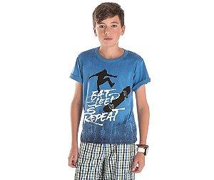 Camiseta Eat Sleep Repeat Bicho Bagunça