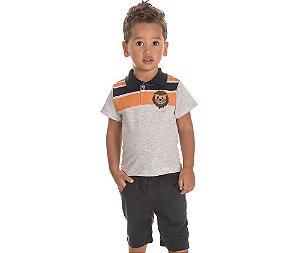 Camiseta Infantil Gola Polo Leãozinho Baby Bicho Bagunça