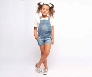 Jardineira Jeans Infantil Feminino MRX Kids