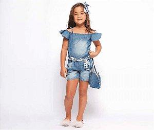 Macacão Jeans Infantil Feminino MRX Kids