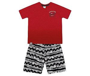 Cj. Camiseta Gola V e Bermuda Tactel Masc. Infantil Fakini