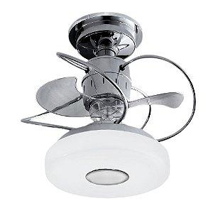 Ventilador de Teto 3 Pas Silencioso com Lustre Monaco Cromado + Chave de parede e Iluminação LED - Treviso