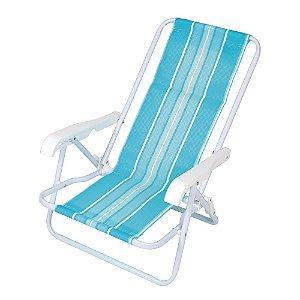 Cadeira De Praia Infantil Mor 4 Posições Em Aço Azul