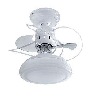 Ventilador de Teto 3 Pas Silencioso com Lustre Bali Branco + Chave de Parede e Iluminação LED - Treviso