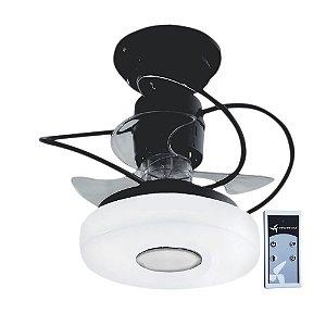 Ventilador De Teto Treviso Monaco Preto com Controle Remoto e iluminação LED