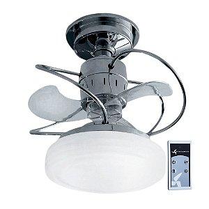 Ventilador De Teto Bali Cromado + Controle Remoto e Iluminação LED Treviso