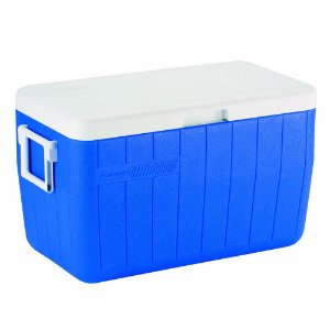 Caixa Térmica Coleman 48 QT 45,6 Litros Azul Tampa Articulada e Alças Laterais